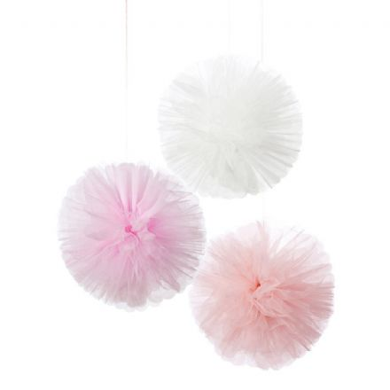 """We Heart Pink"", Pink Tulle Pom Poms - Pack of 3"